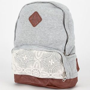 To top off a casual Picnic in the Park outfit, this neutral backpack with a bit of fun, feminine lace detail.