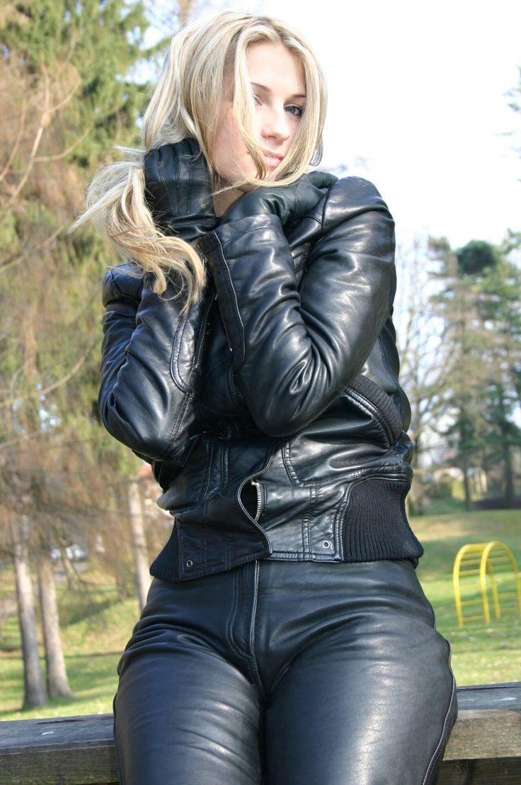 Women. In Leather Jacket