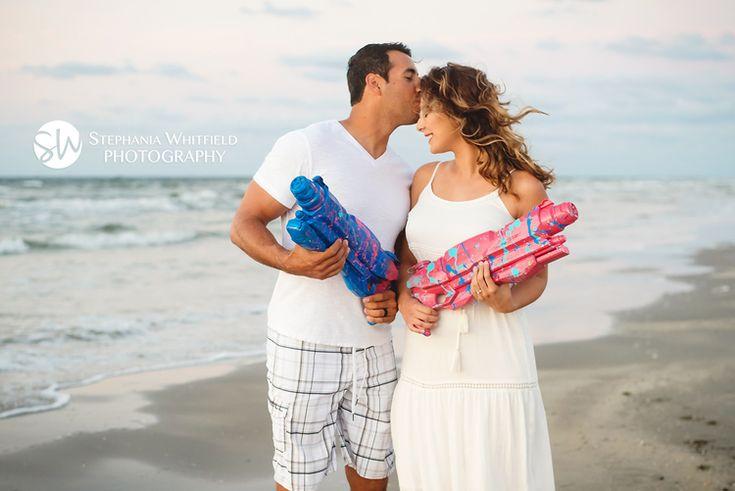Super Fun Paint Gender Reveal Photos on Beach in Port Aransas