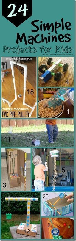 24 Simple Machines projects for kids - so many clever, fun, and unique science experiments to explore simple machines for classroom, science project, and homeschool for kindergarten, first grade, second grade, third grade, fourth grade, and fifth grade. PLUS love the 5 week unit diving more in depth along with free printable simple machine worksheets for kids!! #funcraftforkids