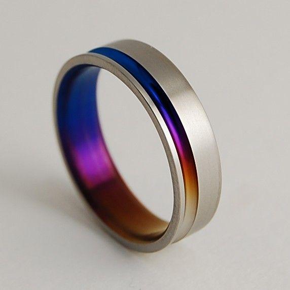 Titanium Ring , The Cosmos in Bronze, Mystic Purple and Nightfall Blue. $80.00, via Etsy.