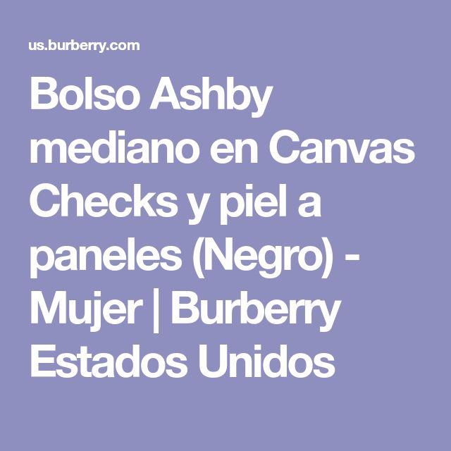 Bolso Ashby mediano en Canvas Checks y piel a paneles (Negro) - Mujer | Burberry Estados Unidos