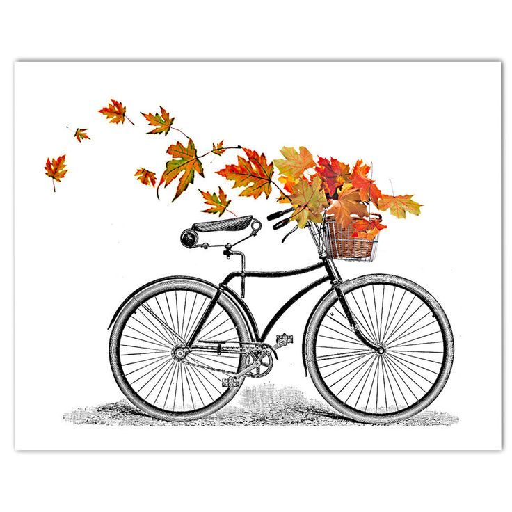 Autumn-Vintage  Bicycle art print Bike poster Mixed media Decorative art POSTER 8x10