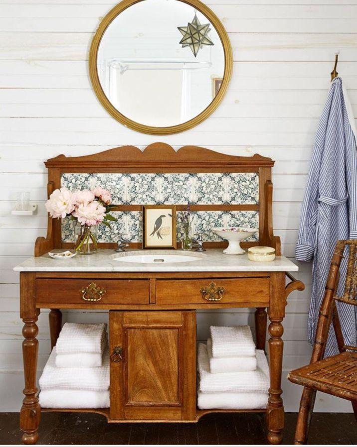 antique wash stand turned modern sink