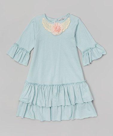 Look at this #zulilyfind! Aqua Ruffle Swing Dress - Infant & Toddler by Victoria Kids #zulilyfinds