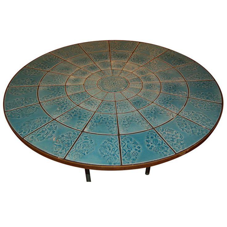 Coffee table by Bjorn Winnblaad  Denmark  1960  Gorgeous table with ceramic tile top Coffee table by Bjorn Winnblaad
