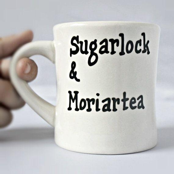 Sherlock Holmes Tea cupdiner mug black white by KnotworkShop