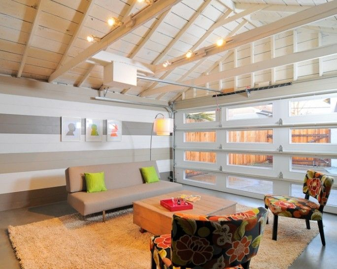 maybe we need garage doors with glass to let in more light? love the white painted ceiling