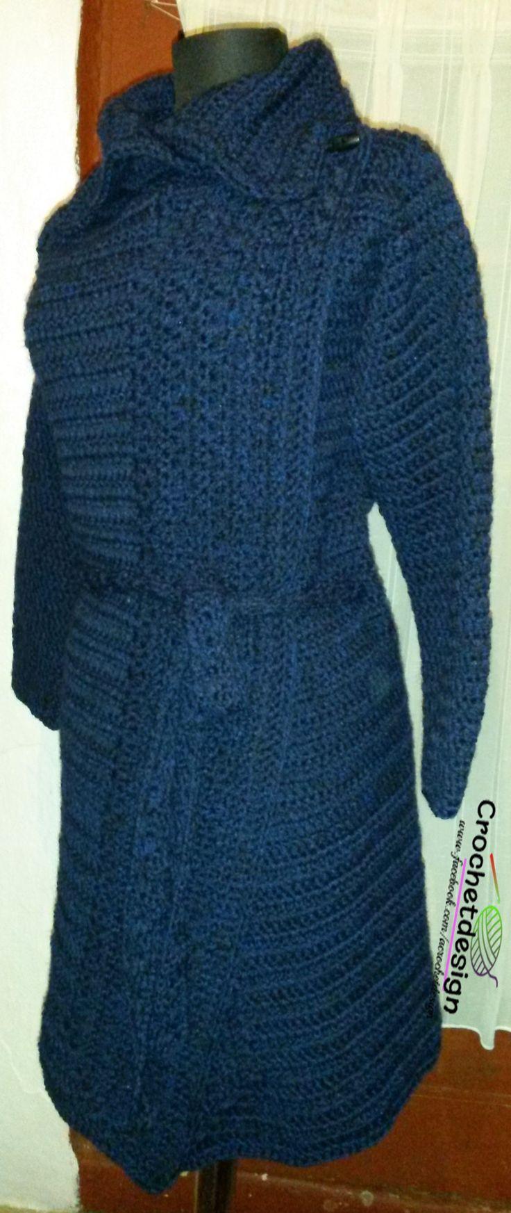 Crochet winter long cardigan, dark blue