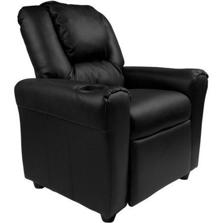 Flash Furniture Kids' Vinyl Recliner with Cupholder and Headrest, Multiple Colors, Black