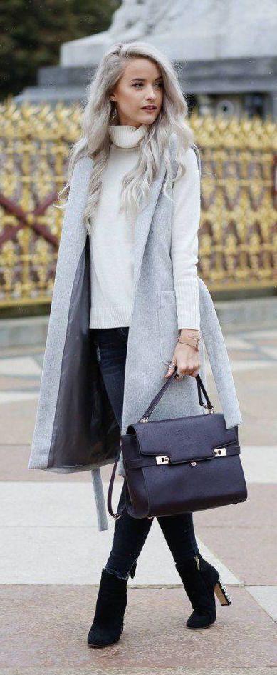 #fall #fashion / turtleneck + gray