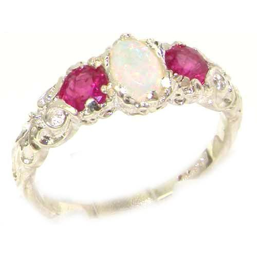 SO PRETTY! TRILOGY RING! Ladies Solid Sterling Silver Natural Opal & Ruby English Victorian Trilogy Ring - Finger Sizes 5 to 12 Available: Jewelry
