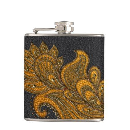 Elegant Faux  Leather  Oriental Floral design Hip Flask - elegant gifts gift ideas custom presents