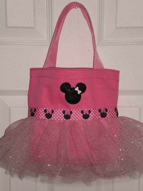 Pink Minnie Mouse Mini Tutu Tote Bag by LollipopLaneBoutique, $15.00    Perfect Party Favor!