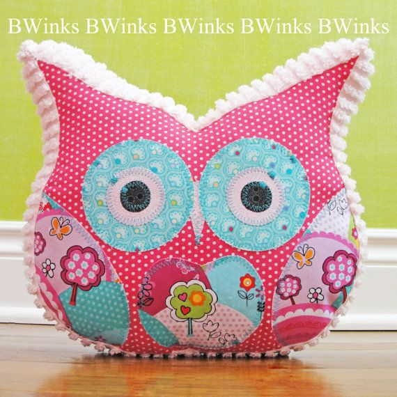 Owl Pillow Stuffed Owl - Bedroom Decor Pillow - Easter Spring Pink Pillow www.BWinks.Etsy.com