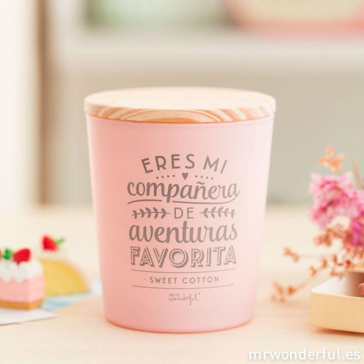 Vela - Eres mi compañera de aventuras favorita #candle #sweetcotton #friends #friendship #mrwonderfulshop