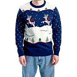 Ugly Christmas Sweater Step Brothers Dale Doback Prancing Reindeer Adult Navy Sweater (Adult Medium)