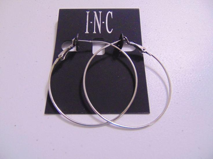 """INC 2 """" Silver Tone Lever Back Spaghetti Hoops Earrings N693"""