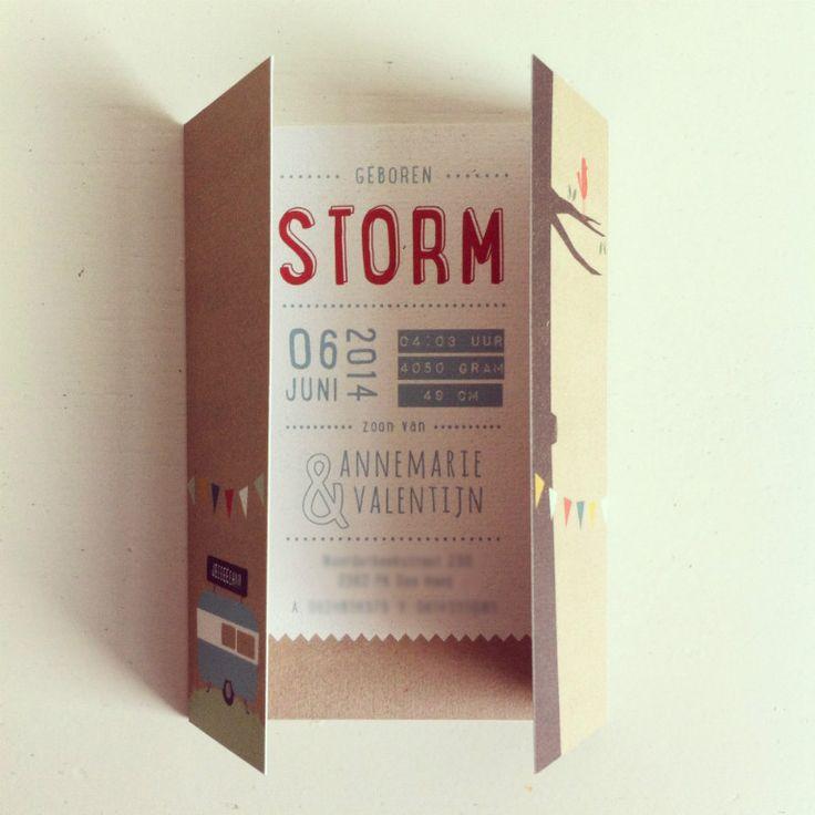 Storm - Geboortekaartjes - Brein Boerderei - unieke en creatieve geboorte aankondigingen; speciaal ontworpen voor jullie baby