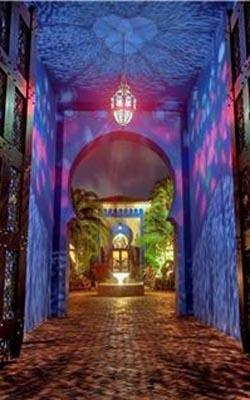 Talk about mood lighting: The courtyard of Rosie O'Donnell's Miami Beach home, which she is selling for $ 20 million.