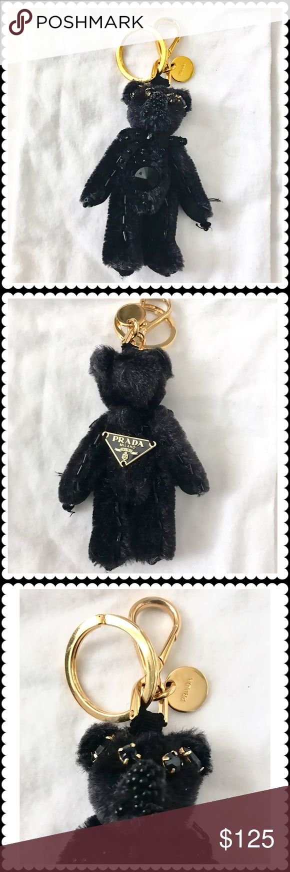 🆕Prada bag charm black teddy bear with beard. Prada bag charm black fur teddy bear with tonal beads. Pre loved. In good condition. All my items are authentic. As a Prada freak I only buy Prada items from Prada stores. Prada Accessories