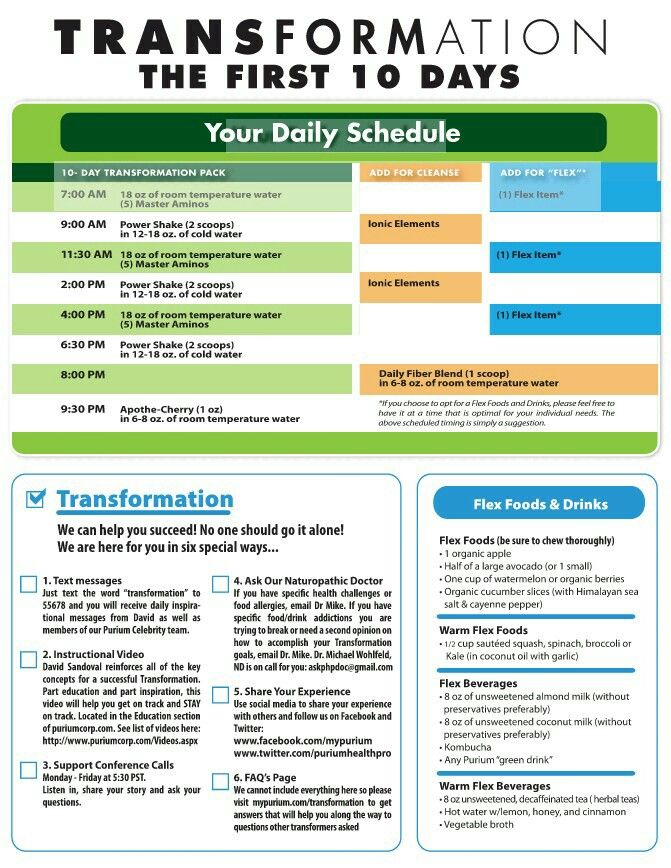 Flex Foods and 10 Day Transformation Daily Schedule