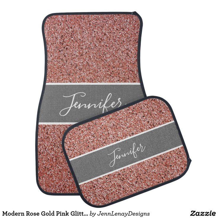Modern Rose Gold Pink Glitter Sparkle Script Name Car