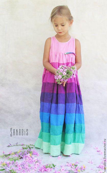"""Colorful linen dress for a girl / Одежда для девочек, ручной работы. Ярмарка Мастеров - ручная работа. Купить Детское платье """"Мятно-розовое"""". Handmade. Платье, бирюзовый"""
