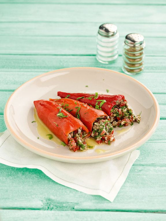 Stuffed Florina peppers with marinated anchovies and herbs