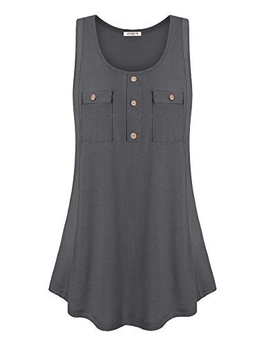 05a56295c594a Jazzco-Womens-Scoop-Neck-Button-Sleeveless-Tunic-Tank-Tops -with-Front-Pockets