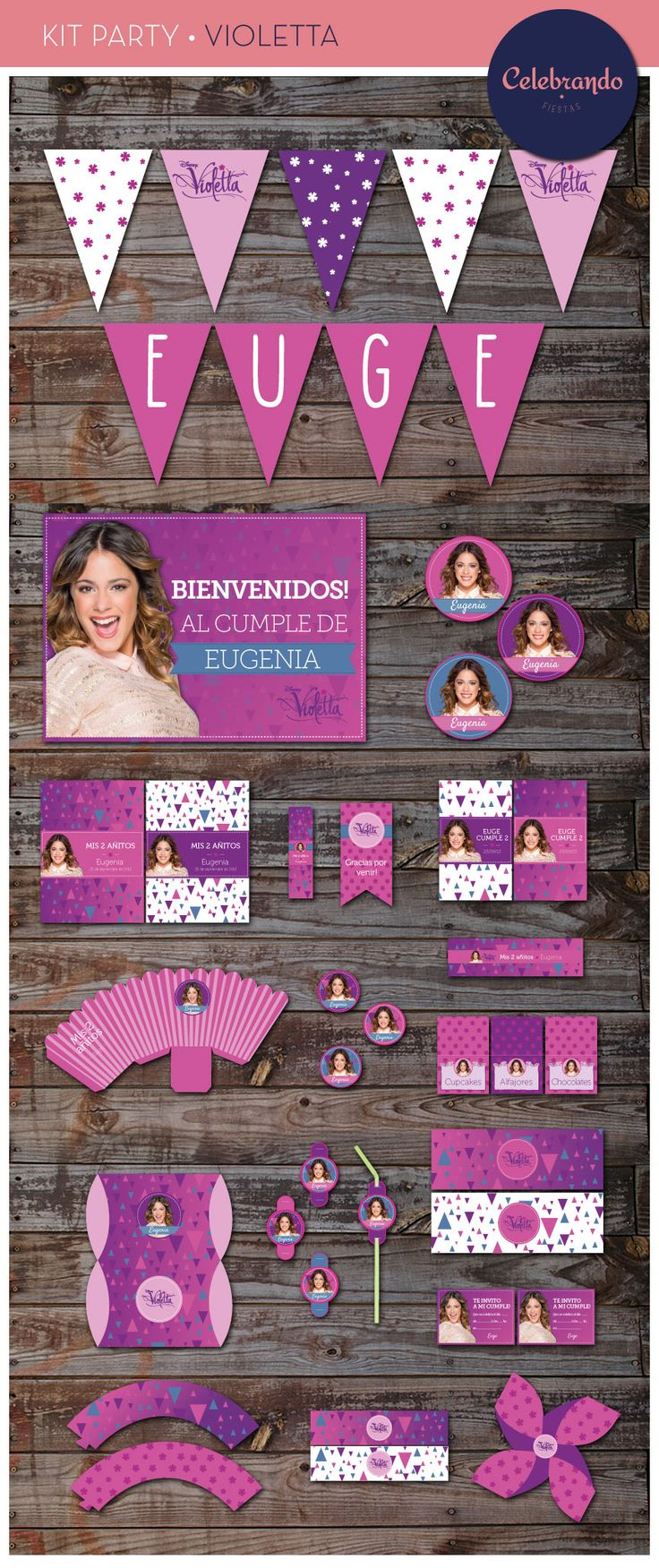 Kit imprimible de Violetta. Celebrando Fiestas. ¡Para nuestra amiga Euge! Que hace poco Cumplio 9 Añitos! ¡Te amamos Euge!
