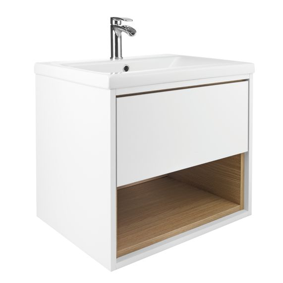 Lincoln 600 Basin And White Oak Wall Mounted Vanity Unit | bathstore