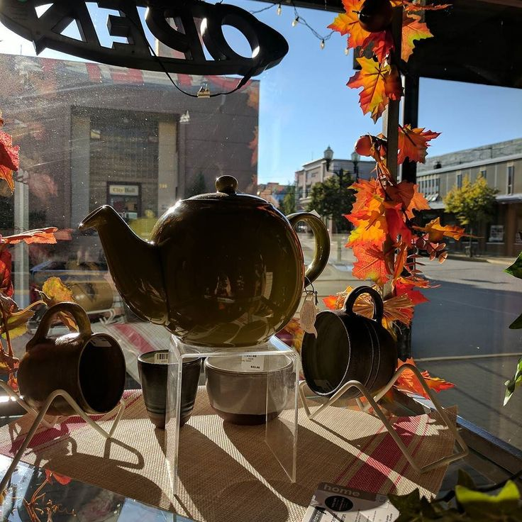 Another beautiful fall day here in #Revelstoke! The morning sun shining into our window displays always makes me smile