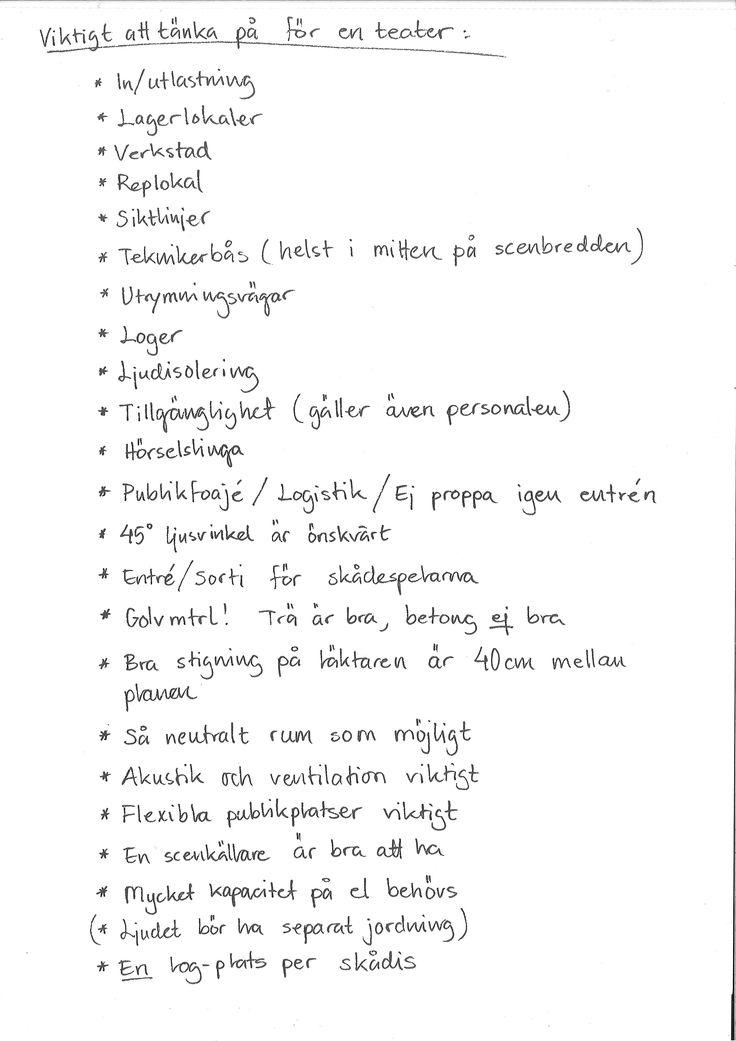 De viktigaste punkterna för en teater (eller de som jag skrev ned :-))