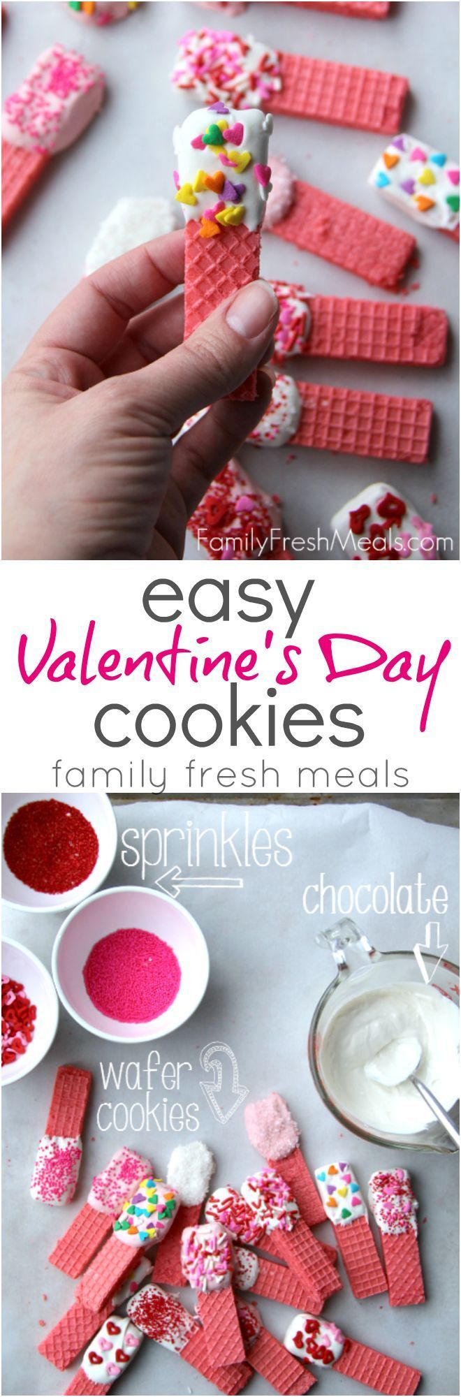 Super Easy Valentine's Day Cookies Recipe – from FamilyFreshMeals.com #valentine…