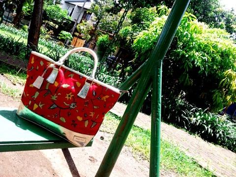 Premium Batik Handmade Tote Bag with silver leather trim. Using Batik Tulis Pekalongan. Unique and Beautiful Bag for your casual day    www.angsadua.com