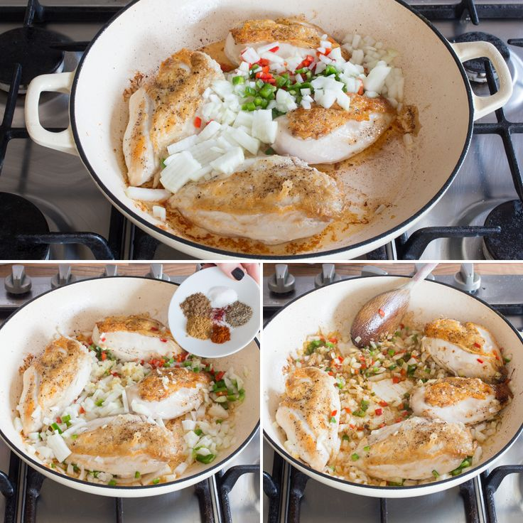 One pot lemon garlic chicken cous cous Step collage