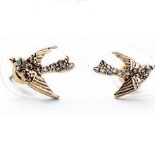 Europejski Styl Vintage Wykwintne V2854 Zapłon Kryształ Ptak Stadniny Kolczyki Dla Kobiet(China (Mainland))