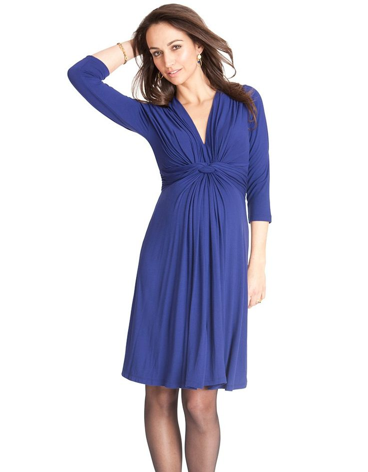 Royal Blue Knot Front Maternity Dress | Seraphine