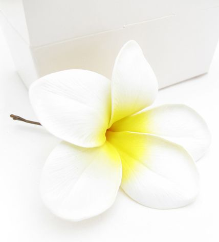Frangipani hairpin by Loveflowers. Find your perfect wedding flowers at http://www.loveflowers.com.au/