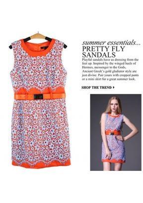 Fashion Orange Three Layer Fabrics Water Soluble Lace Embroidery Cloth Dress