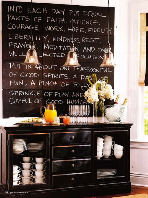 Love the chalk board up above the coffee station