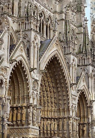 Gothic Cathedral façade in Amiens, France