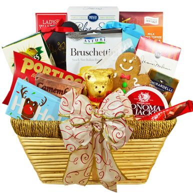 You will be the hit of the party with this gorgeous gift basket overflowing with delectable snacks and holiday goodies! A fabulous way to spread holiday cheer and good wishes!