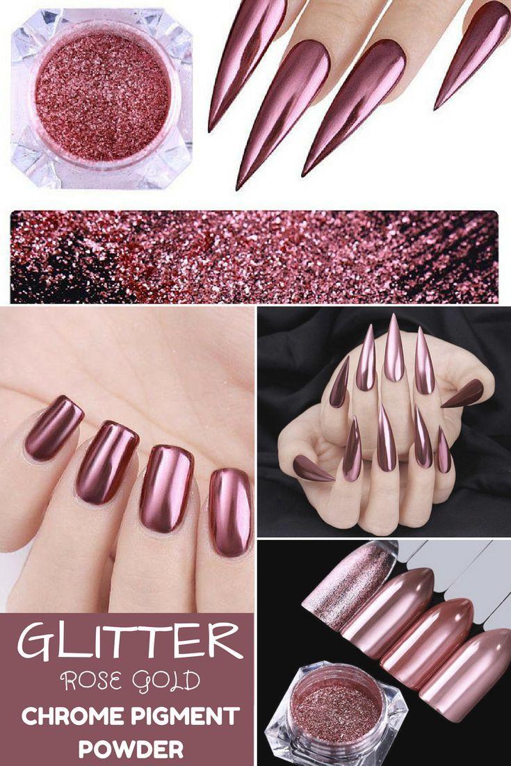 Born Pretty Mirror Nail Glitter Rose Gold Nail Art Chrome Pigment ...