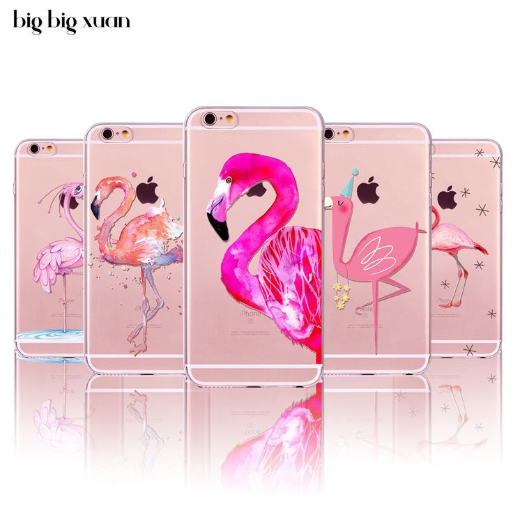 Phone Cases For iphone 7 6 6S 5 5S SE  New Fashion Soft Colorful Flamingo Silicone Phone Cases Fundas Capa