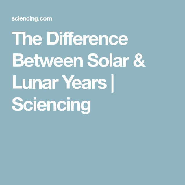 The Difference Between Solar & Lunar Years | Sciencing