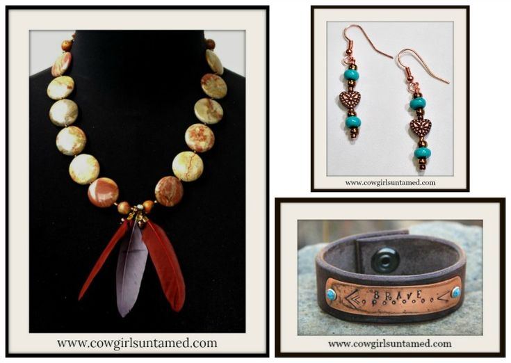"""Beautiful handmade genuine jasper and copper Indian Beaded Feather Pendant Necklace! Handmade copper heart earrings, and """"Brave"""" leather cuff bracelet. Makes a Great gift! #copper #feather #gemstone #necklace #earrings #cuff #bracelet #heart #jewelry #cowgirl #western #bohemian #southwestern #boutique #gifts"""