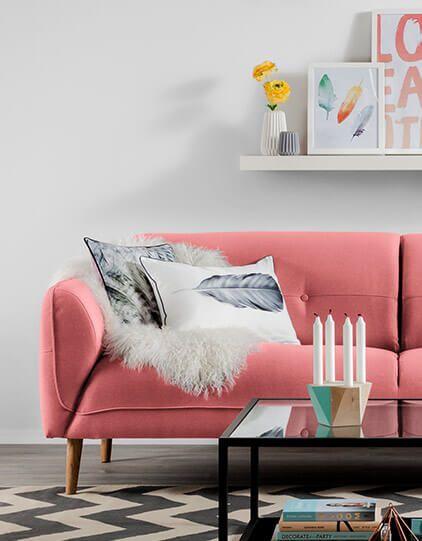 Wohntrend 2018 Leuchtende Koralle, Sofa mit Farbe, Sofa Ideen - farbe wohnzimmer ideen