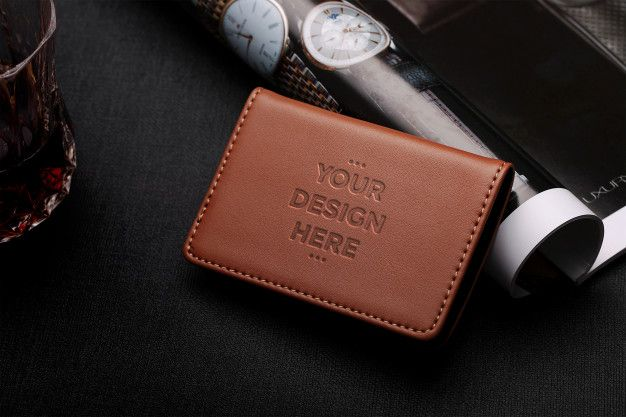 Brown Leather Wallet Mockup Brown Leather Wallet Mockup Template Leather Wallet